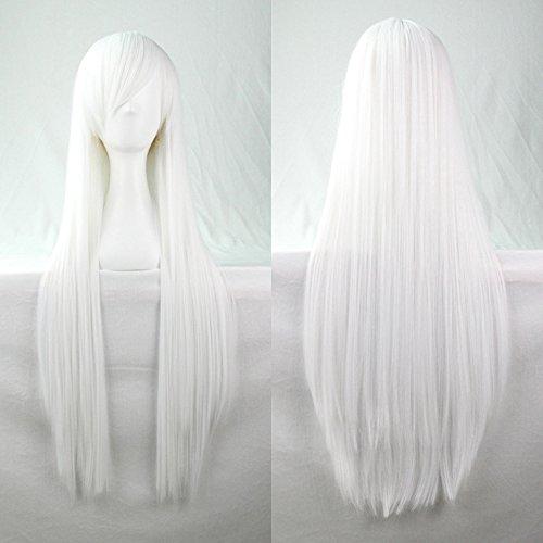 (Kissparts 80cm Reines Weiß glattes Haar Cosplay Perücke mit Perückenkappe und Kamm)