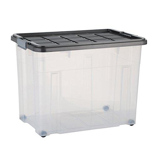 axentia Caja de almacenamiento con tapa y ruedas - capacidad 80 L - 60/40/44,5 cm - Cajonera plegable, Casilla Box de plástico para ropa, juguetes y otros accesorios