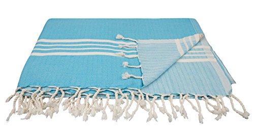 ZusenZomer Hamamtuch xxl STORM 160x210 Türkis Blau - Fouta Strandlaken Hammam Badetuch Groß und Leicht - 100% Hochwertige Baumwolle Handgewebt - Fair Trade Hamamtücher