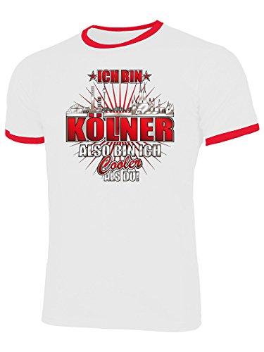 Ich Bin Kölner Also Bin ich Cooler als du 4618 Fussball Fanshirt Fan Shirt Tshirt Fanartikel Artikel Männer Herren Ringer T-Shirts Weiss Rot M