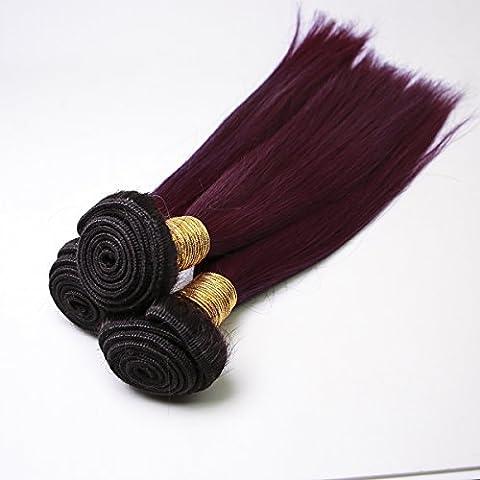 BLISSHAIR Les mèches 3 Bundles Perruques Cheveux Raides Cheveux courts Cosplay Bob 10 inch 99J