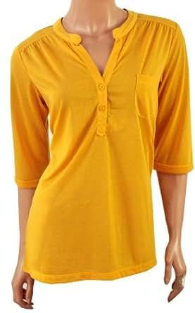 Dunnes Ladies 2 Button 3/4 Sleeve Top (18, Mustard)