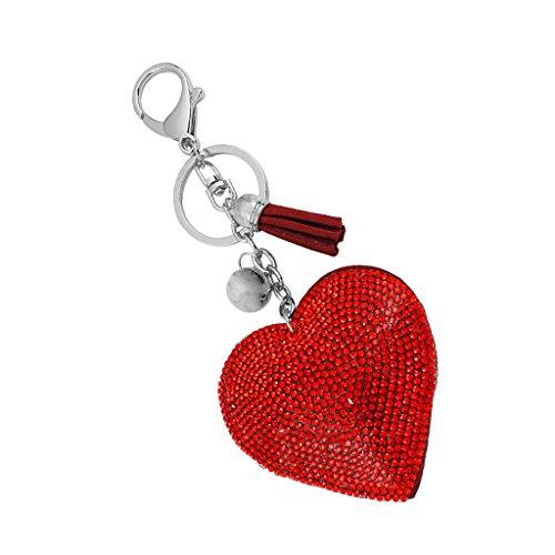 Morbido cuore diamante ciondolo di cristallo del portachiavi chiave della catena - rosso