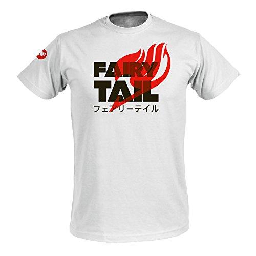 Fairy Tail Herren T-Shirt Logo Katakana weiß Baumwolle Weiß