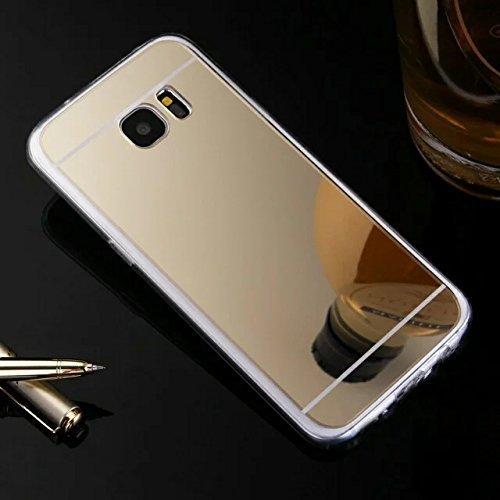 Preisvergleich Produktbild Hülle Kompatibel mit Samsung Galaxy S6 Edge Plus Spiegel Hülle Mirror Silikon Glitzer Cool Bling Kristall Strass Diamant Hülle TPU Soft Flex Hybrid Case Cover Etui Hülle Galaxy S6 Edge Plus, Gold