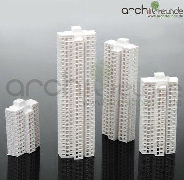 4 x Modellbau Bausatz Gebäude Hochhaus 1:1000 Typ A+B+C+D
