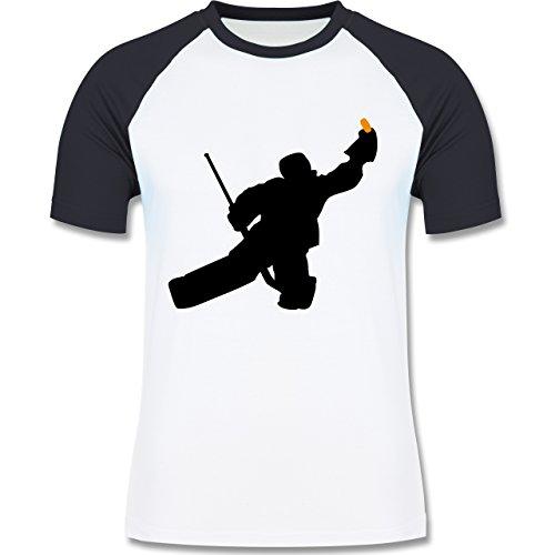 Shirtracer Eishockey - Towart Eishockey Eishockeytorwart - Herren Baseball Shirt Weiß/Navy Blau