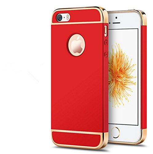 Cover iPhone 5 Custodia,Qissy®3 in 1 Hard PC Ultra Sottile Anti-Scratch Bumper Protettiva Cover Case per iPhone 5 5s SE 4.0 Red
