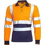 shelikes Mens Hi Vis Viz High Visibility Reflective Tape Safety Polo Contrast Long Sleeve Workwear Tee Tshirt Top