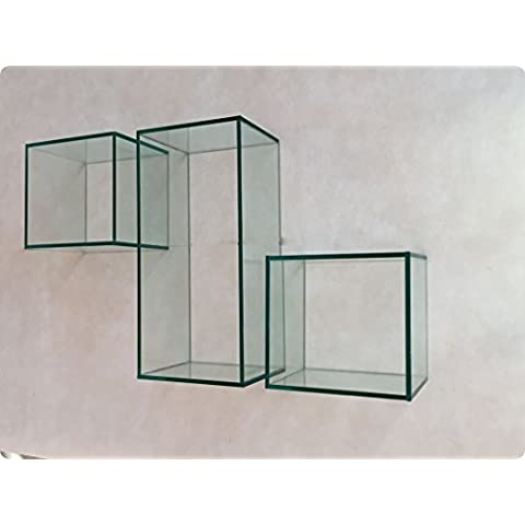 Estante de cristal diseño de cubo: 49x 23cm, incluye set de montaje
