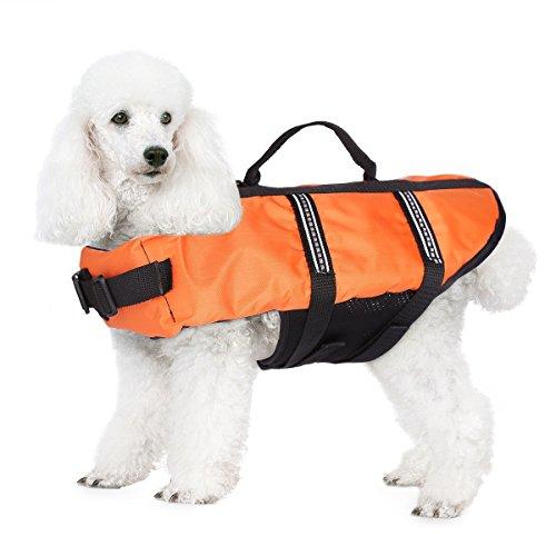 JZHY Hundeschwimmweste Sicherheitskleidung Schwimmen Schwimmwesten Badebekleidung mit verstellbaren G¨¹rtel f¨¹r Haustier Hund-Orange,XXS
