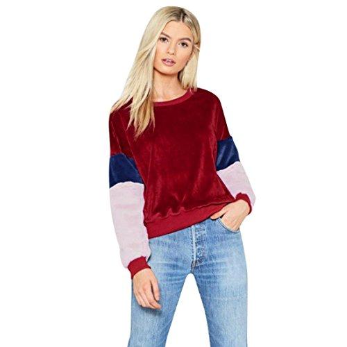 URSING Frauen Sweatshirt Patchwork Farbe Block Kaschmir Ärmel Pullover Tops Damen Herbst Bluse O-Ausschnitt Langarmshirt Jumper Shirt Hemd Oberteile (S, Weinrot)