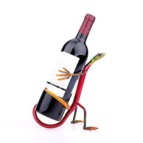 Weinregal Gecko Weinregal Moderne Regale Figuren Metall Skulptur Rot 1 Flasche Heim Stand Dekoration Interior Crafts Entwurf Völlig Zusammengebaut Liebhaber Geschenke,Rot