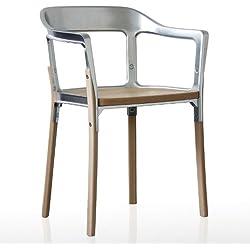 Magis Steelwood - Chaise, Galvanized Steel laqué piètement et Assise en hêtre Naturel