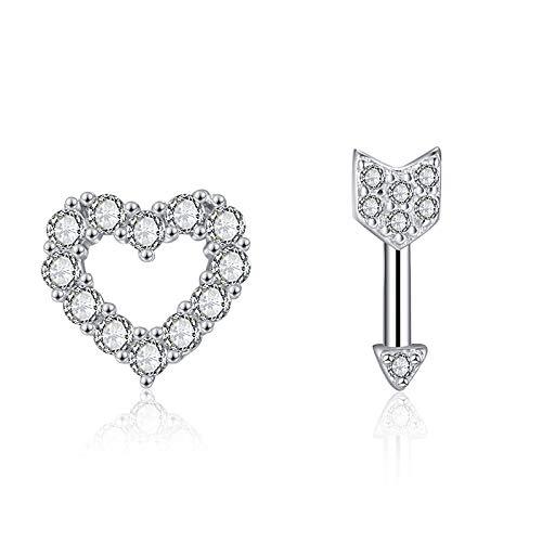 SUNHAO Ohrstecker S925 Sterling Silber Amor Pfeile Liebe Micro Inlay Pfeil Herzform Süße Ohrringe (Süße Schwarze Ohrstecker)