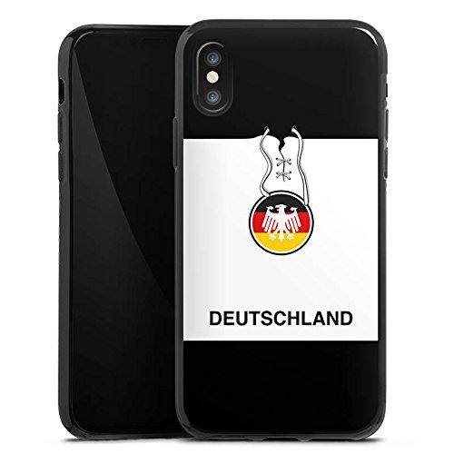 Apple iPhone X Silikon Hülle Case Schutzhülle Deutschland Fußball Trikot Silikon Case schwarz