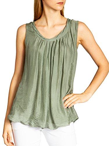 714afde535aca8 Caspar BLU019 Elegantes leichtes Damen Sommer Träger Top mit Seidenanteil,  Farbe:Oliv grün,