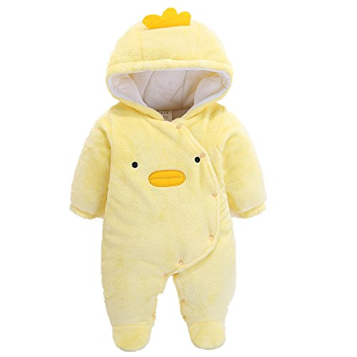 Hund Flanell-pyjama Set (Baby Strampler Jumpsuit, Morbuy Infant Tier Jumpsuit Baby unisex Krabbeln Pyjamas Flanell mit Kapuze Strampler Mädchen Schneeanzug Jumpsuit (59, Gelbe Ente))