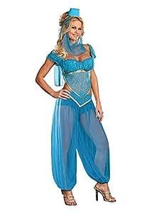 Princess Jasmine Genie Belly Dancer Arabian Nights Costume (Women: 6-8, Blue)