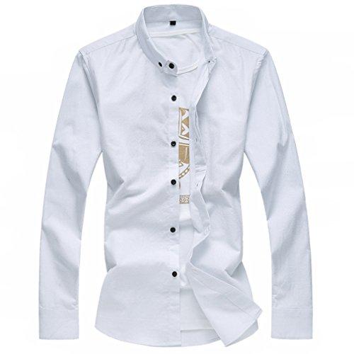 Honghu Herren Sommer Basic Business Regualr Fit Langarm Button-down Freizeithemd Weiß