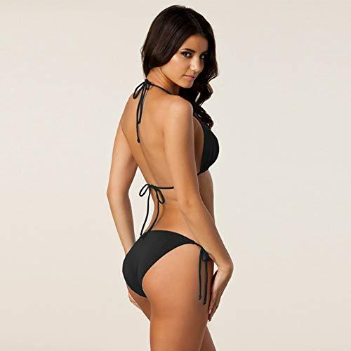 YTRSJHNGG Hottest Klassischer Schwarzer Bikini Solid Plus Size Bikini Set Badeanzüge Abnehmbares Pad Voll gefüttert Damen Bademode Schwarz XXL -