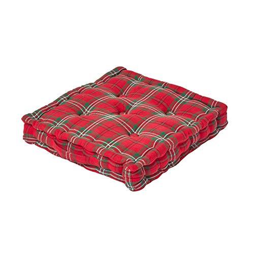 Homescapes Sitzkissen Edward Tartan Stuhlkissen aus 100 % Baumwolle, Bodenkissen quadratisch 50 x 50 cm. Farben: Rot, Grün. Geeignet für Innenräume, Gartenmöbel, Stühle und Sessel. -