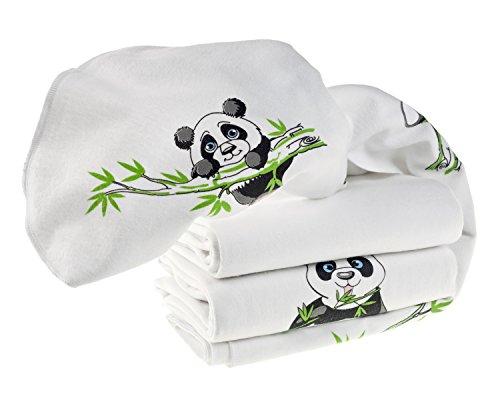 3er Pack Moltontücher   saugstarke Molton Unterlage   Baby Spucktücher - 80x80 cm - Panda Weiß/maschinenwaschbare & schadstoffgeprüfte Baumwolltücher