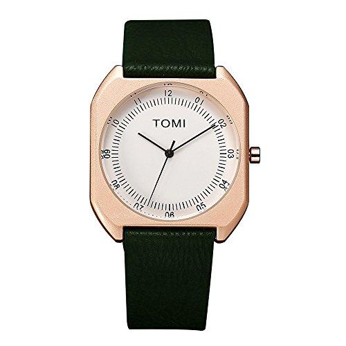 Armbanduhren männer Herrenuhr mit Datum Funktion Herren TOMI Mode Casual Herren Bussines Retro Design Leder Quadrate Band Uhr Armbanduhr Uhren Armbanduhren Herrenarmbanduh Grün -