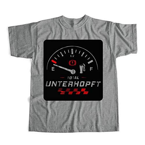 Total Unterhopft Shirt Treibstoff Shirt Tankfüllstand Shirt Geschenk für Autoliebhaber Shirt Unisex Grau XXL