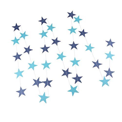 SunniMix 4m Sterne Papiergirlande Hängende Flaggen Fahne Für Hochzeit Baby Dusche - Blau