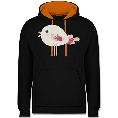 Ostern - Süßer Vogel - Frühlingstiere mit Blumen - Kontrast Hoodie Schwarz/Orange
