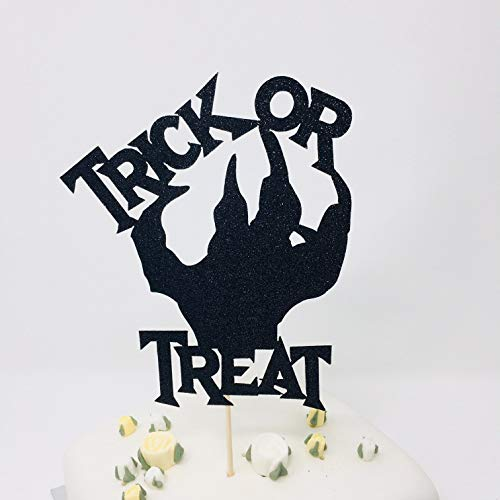 Trick Or Treat Cake Topper. Halloween Party Decor. Halloween Party Ideas. Scary Halloween Decorations. Black Topper With Zombie Hand Glitter Cardstock Topper