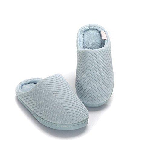 TININNA Intérieur Chaussons Confortable Coton Glisser sur Hommes Femmes Doublure Corail Velours Ultra Poids Léger Chaussures d'intérieur Pantoufle de Maison de Couple Bleu M