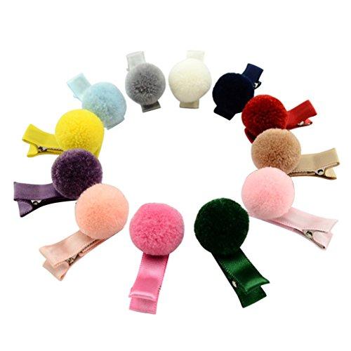 12 Stück Baby Weiche Fellknäuel Haarspange Handgemachte Haarspangen Kopf Zubehör Neu