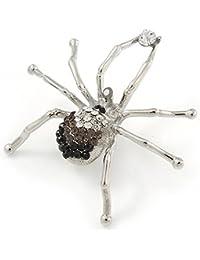 Negro/Gris/Transparente araña de cristal broche en Metal chapado en rodio–60mm