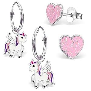 Mädchen 2 Paar Kleine Pegasus Creolen + Glitzer Herz Ohrstecker 925 Silber Mädchen Ohrringe Pferde Einhorn