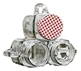 #10: SK-tm Mason Jar with Checkered Lid and Handle for Storage and Party favors (150 ml) (pack of 3 pcs) (random color)