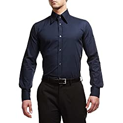 Dolce & Gabbana Camicia Gold Fit Uomo Slim business Shirt D&G Man Dark Navy (40 (15 3/4))