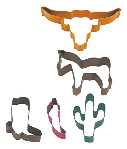 R & M Set of 5 Southwest Themed Cookie Cutters: Longhorn, Horse, Cactus, Cowboy Boot and Pepper Gift Packaged by R&M -