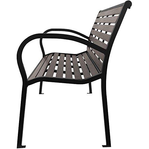 2tlg. Sitzbank-Set Gartenbank wetterfest Metall Schwarz / Polywood Grau + Auflage 120x48x6cm Anthrazit strukturiert - 4