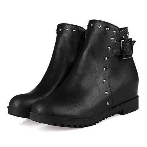 AllhqFashion Damen Blend-Materialien Rund Zehe Mittler Absatz Niedrig-Spitze Stiefel, Schwarz, 39