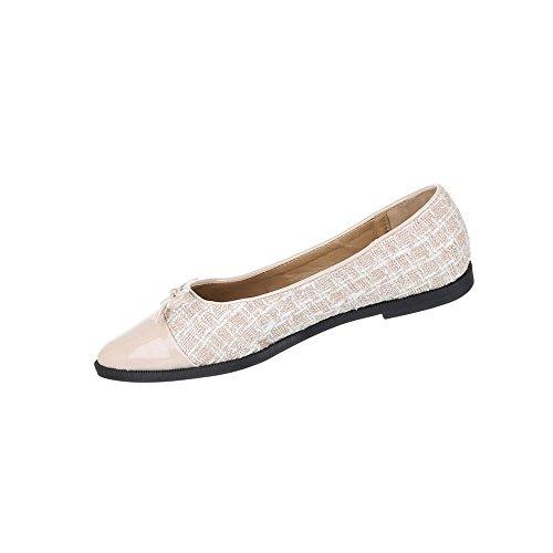 Damen Schuhe Ballerinas Leichte Slipper Beige