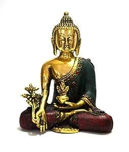 Thai Statuette de Bouddha de médecine en méditation-Peace Harmony Bouddhisme Statue- craftvatika Style Antique avec joyaux Fabriqué à la main