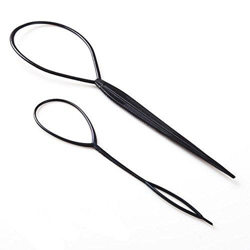 Hosaire 4x Topsy Haar Tail Twister Inhaber Frisurenhilfe Band Schwarz Dutt Styler Haar Twister Schlinge Schlaufe