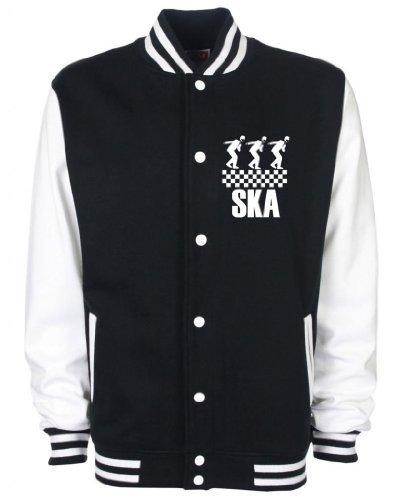 Ska Dancers Contrast Varsity Jacket Black