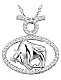 Gnzoe Jewelry Women Necklace 925 Silver Twelve Constellation Shape Pendant Elegant Silver Chain Lady Chain Size 1.5x2.1 CM With Cubic Zirconia