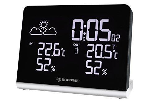 Bresser Wetterstation Temeo TB mit DCF Funkuhr mit 256-Farben Display und Weckfunktion für die Anzeige von Temperatur und Luftfeuchtigkeit inklusive Wettertrendanzeige und Außensensor