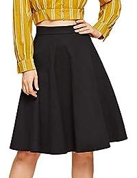 DIDK Damen Rock Knielang A-Linie Elegant Faltenrock Hohe Taille Vintage  Retro Swing Röcke mit 0e5318748c