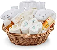 Baby Box Shop - Cesta regalo bebé en Blanco Azul y Rosa