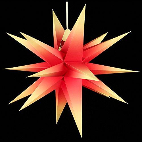 Angebot: Annaberger Faltstern - Weihnachtsstern - Rot-Gelb 60cm mit Beleuchtungsset Erzgebirge